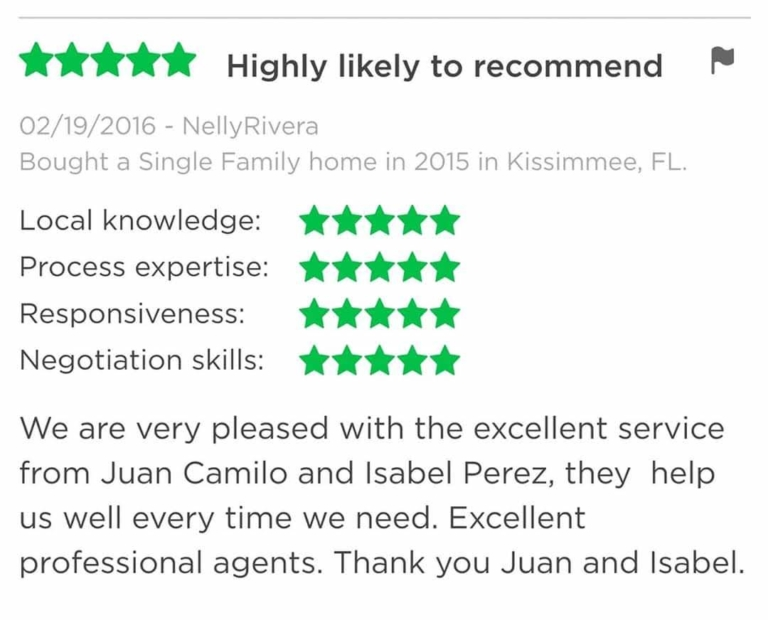 Juan & Isabel Perez Reviews, buy a house, sell a house, we buy houses, get a cash offer, real estate, florida relocation, clermont real estate, best realtors clermont